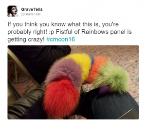 CMCon16: Fistful of Rainbows meet-and-greet butt plug tweet