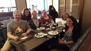 Terrible lunch, excellent company! Damon Suede, Katie Reus, Kathleen Collins, Stephen Osborne, & Sarah Romsa